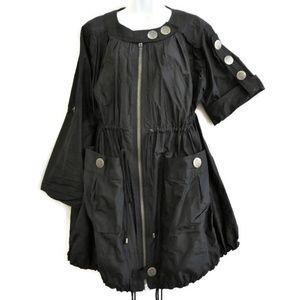 Thomas Wylde Jacket Coat Pure Silk Black Designer
